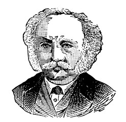 Man's face with mustache and tie, vintage engraving.