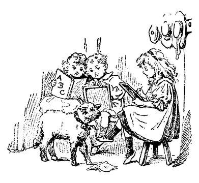 Mary Had a Little Lamb, vintage illustration