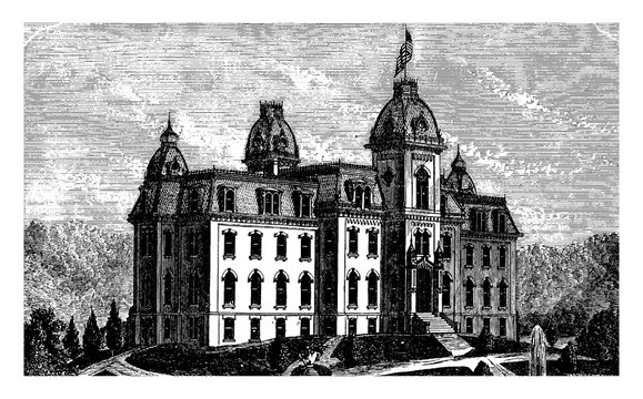West Virginia Agricultural College or college of agriculture, vintage engraving.