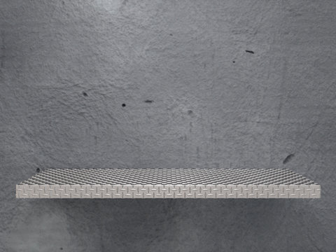 Empty Diamond metal plate shelf. 3d render mockup image with front view on gray concrete background