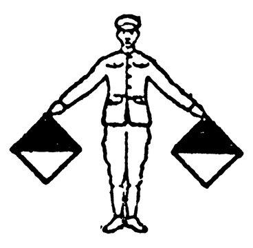 Flag signal for the letter N, vintage illustration
