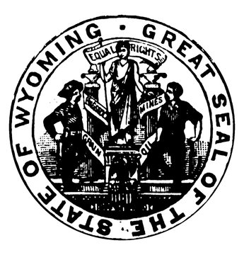 Seal of the state of Wyoming, 1913, vintage illustration