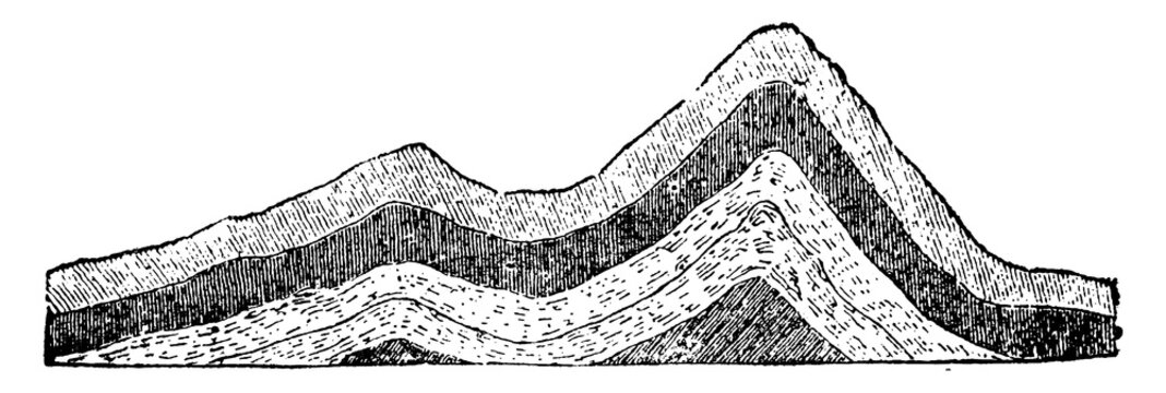 Anticlinal Strata, vintage illustration.