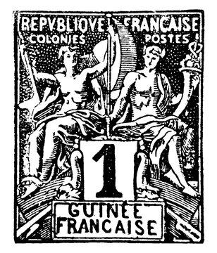 French Guinea 1 Centime Stamp, 1892, vintage illustration