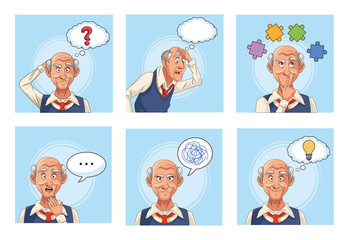 old men patients of alzheimer disease with speech bubbles an puzzle pieces Wall mural