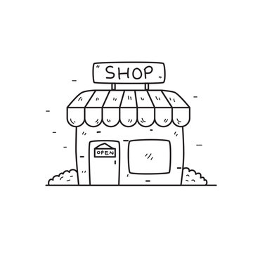 Store vector illustration in cute hand drawn style isolated on white background