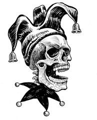 Jester skull in hat. Ink black and white drawing