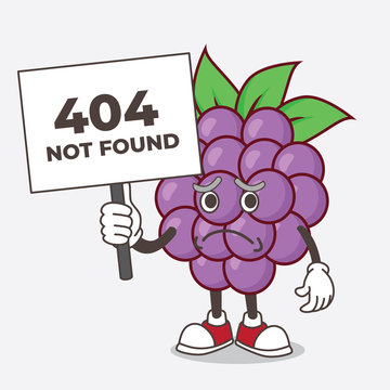 Boysenberries Fruit cartoon mascot character with cheerless face and holding a 404 board
