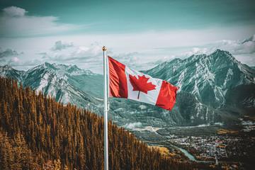 Photo sur Plexiglas Canada Canadian Flag Landscape