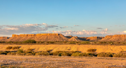 Aluminium Prints Blue Namibia landscape with table Mountain near city Mariental, Africa wilderness