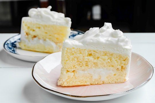 Sliced of delicious coconut layer cake