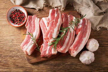 fresh pork ribs with rosemary, top view Wall mural