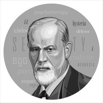 Sigmund Freud - father of psychoanalysis, portrait. Ego, superego, libodo, sexuality, Vector illustration