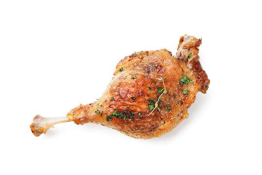 Roast duck leg isolated on white background