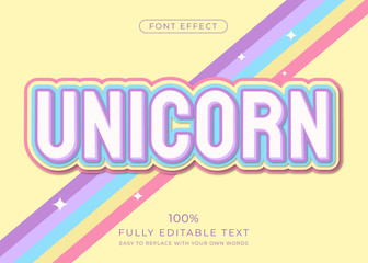 Unicorn Cute text effect with dreamy soft color. Editable font style Wall mural