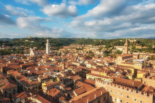 Verona centre city with red roofs, Veneto region, Italy.