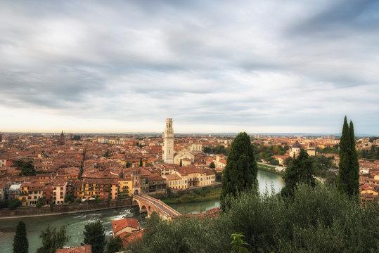Aerial view of Verona, Veneto region, Italy.