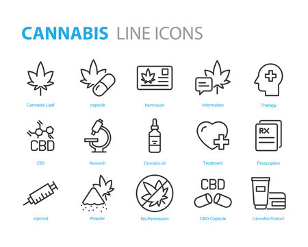 set of cannabis icons, CBD, medicine, natural therapy