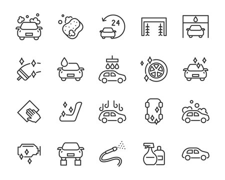 set of auto care icons, car wash service