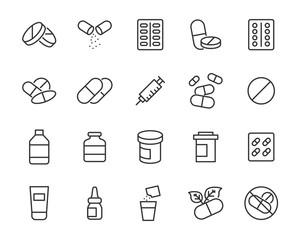 Fototapeta set of medicine icons, pharmacy, drug store, capsule obraz