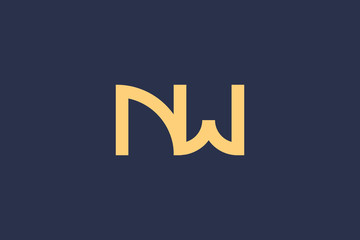 Creative Innovative Initial NW logo and WN logo. NW Letter Minimal luxury Monogram. Professional initial design. Premium Business typeface. Alphabet symbol and sign.