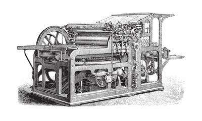 Old automatic cylinder printing press / vintage illustration from Brockhaus Konversations-Lexikon 1908