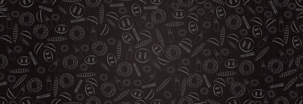 Baked goods. Bakery background on dark background. Vector illustration, seamless pattern.