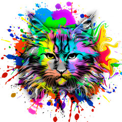 Abstract creative illustration with colorful cat