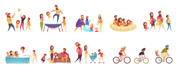 Set of cartoon icons family active holidays parents with kids in various activity isolated vector illustration