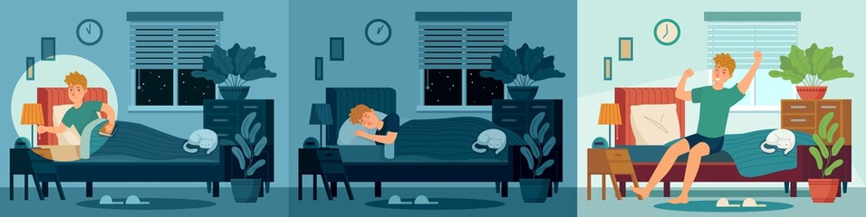 Man sleep in home bed room. Happy male character sleeping in bed at night and wake up morning. Healthy sleep vector illustration. Awake man in light room, bedroom morning, wake person