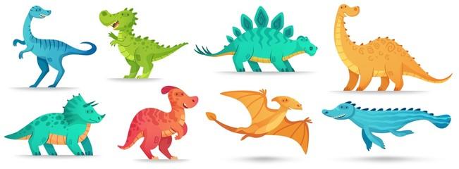 Custom vertical slats with your photo Cartoon dino. Cute dinosaur, funny ancient brontosaurus and green triceratops. Comic dinosaurs vector illustration set. Dinosaur and monster, comic prehistoric reptile