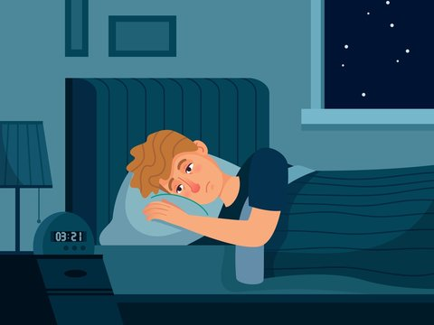 Man with insomnia. Sleep disorder, man lies in bed with his eyes open, male person cant sleep at night vector illustration. Man problem with sleep, insomnia and sleeplessness