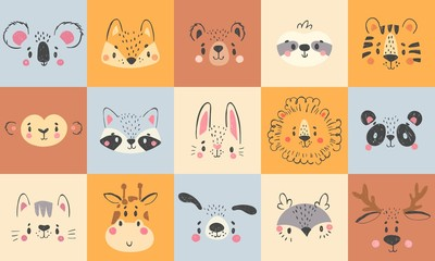 Cute animal portraits. Hand drawn happy animals faces, smiling bear, funny fox and koala cartoon vector illustration set. Face deer and lion drawing, rabbit and tiger wildlife
