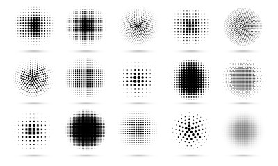 Circle halftone. Abstract dotted circles, round halftones geometric dots gradient and pop art texture. Dot spray gradation vector set. Illustration halftone gradient spotted, effect round Fotomurales