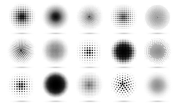 Circle halftone. Abstract dotted circles, round halftones geometric dots gradient and pop art texture. Dot spray gradation vector set. Illustration halftone gradient spotted, effect round