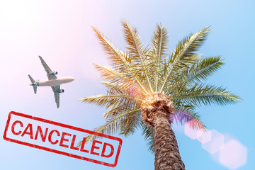 Flight cancelled. A lot of airline companies cancel their flights due to the coronavirus outbreak. Epidemic virus 2019-nCoV Respiratory Syndrome. Medicine concept.