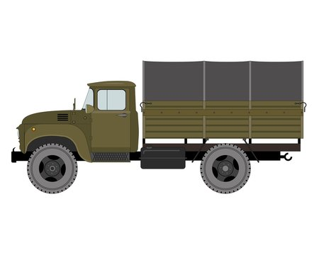 Army truck, illustration isolated, on white background