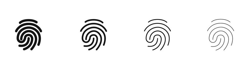 Set of different fingerprint logos. Collection. Modern style. Vector illustration.