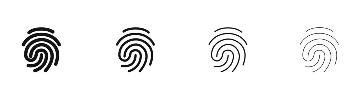 Set of different fingerprint logos. Collection. Modern style. Vector illustration.