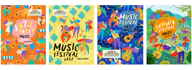 Posters for a summer live music festival or jazz party. Background from vector illustrations of musicians and dancing people. Fotobehang