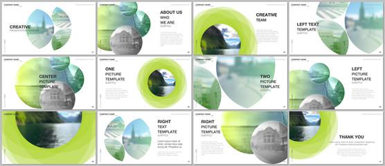 Presentation design vector templates, multipurpose template for presentation slide, flyer, brochure cover design, infographic report presentation. Abstract green fresh fluid geometric design. Wall mural