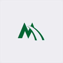 letter m and road line logo design template