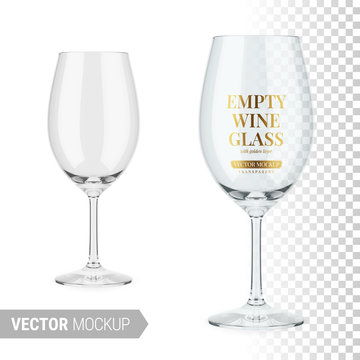 Empty clear wine glass template. Vector mockup.