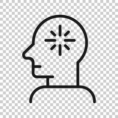 Mind awareness icon in flat style. Idea human vector illustration on white isolated background. Customer brain business concept.