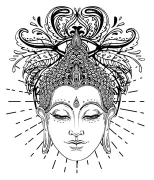 Buddha face over ornate mandala round pattern. Esoteric vintage vector illustration. Indian, Buddhism, spiritual art. Hippie tattoo, spirituality, Thai god, yoga zen Coloring book pages for adults.