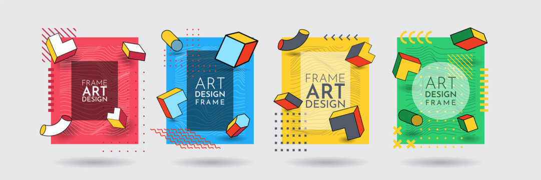 Vector frame for text. Modern Art graphic. Dynamic frame stylish geometric background. Element for design invitations, gift cards, flyers, posters, book covers, banners. Memphis pattern with 3d effect