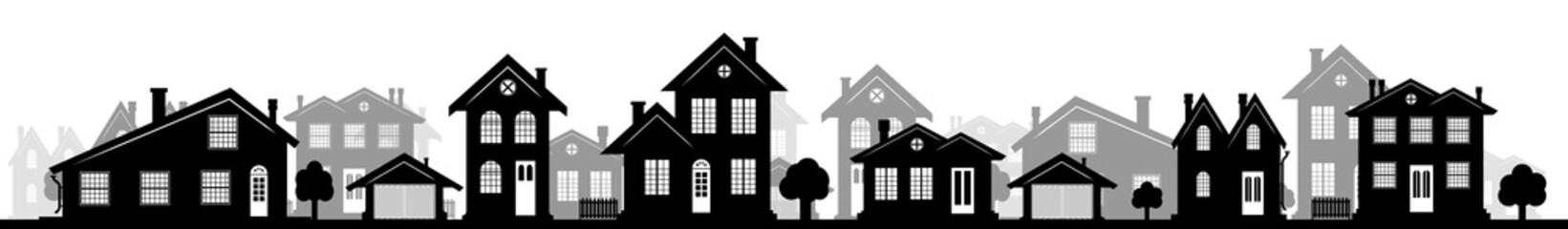 A charming street in the U.S. with houses of different design and architecture. Many options of windows and doors. A header for a website or an article about real estate. A wide panorama.