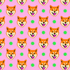 Seamless pattern with the image of a shiba inu dog. Dog with a ball.