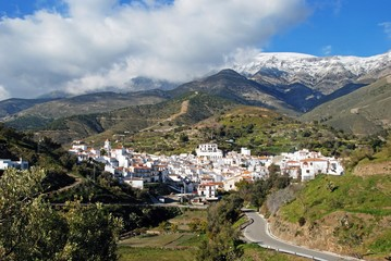 View of the town and surrounding countryside, Sedella, Spain.