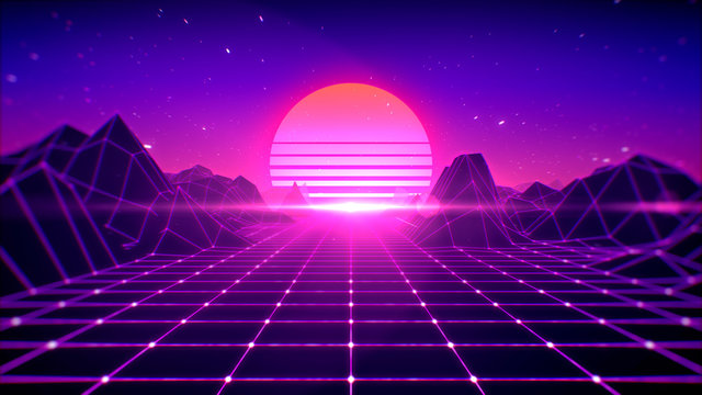 Retro background futuristic 80's style, digital summer landscape mountain, sun and space with laser grid on terrain, 3d rendering.
